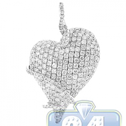 Womens Diamond Womens Wrap Heart Love Pendant 14K White Gold