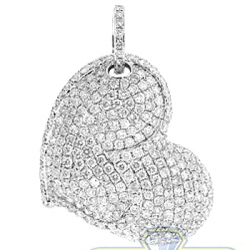 Womens Diamond Pave Heart Love Pendant 14K White Gold 3.16ct