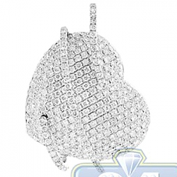 Womens Diamond Wrapped Heart Love Pendant 14K White Gold 2.59ct