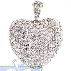14K Yellow Gold 3.01 ct Diamond Puff Heart Womens Pendant