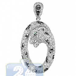 14K White Gold 2.05 ct Diamond Panther Womens Oval Pendant