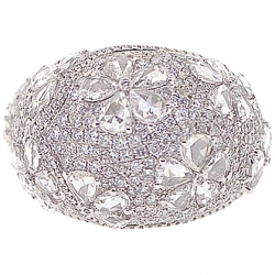 18K White Gold 7.40 ct Rose Cut Diamond Flower Dome Ring