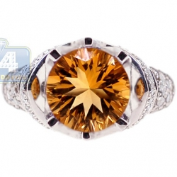 14K White Gold 1.54 ct Citrine Diamond Womens Cocktail Ring