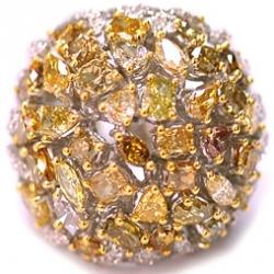 14K White Gold 8.83 ct Fancy Multicolored Diamond Womens Dome Ring