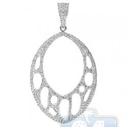 14K White Gold 1.36 ct Diamond Openwork Oval Pendant