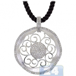 14K White Gold 1.09 ct Diamond Filigree Circle Pendant Necklace