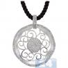 Womens Diamond Filigree Circle Pendant Necklace 14K White Gold