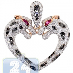 Womens Diamond Double Panthers Heart Pendant 14K Rose Gold 2.3ct