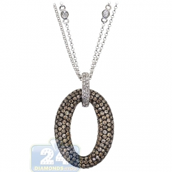14K White Gold 2.40 ct Cognac Diamond Oval Pendant Necklace