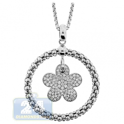 14K White Gold 0.86 ct Diamond Flower Circle Pendant Necklace