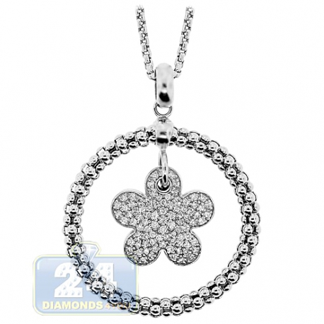 Womens Diamond Flower Circle Pendant Necklace 14K White Gold