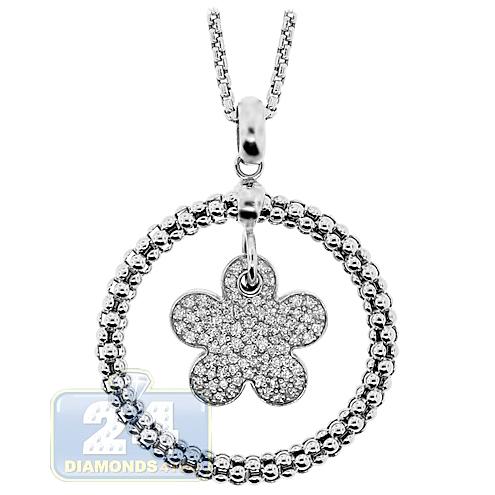 Womens diamond flower circle pendant necklace 14k white gold aloadofball Gallery