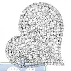 14K Yellow Gold 2.39 ct Diamond Pave Womens Heart Pendant