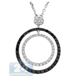 14K White Gold 1.95 ct Diamond Double Circle Pendant Necklace