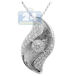 14K White Gold 1.62 ct Diamond Leaf Shape Womens Pendant