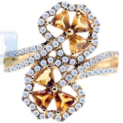 14K Yellow Gold 1.19 ct Diamond Citrine Bypass Flower Ring
