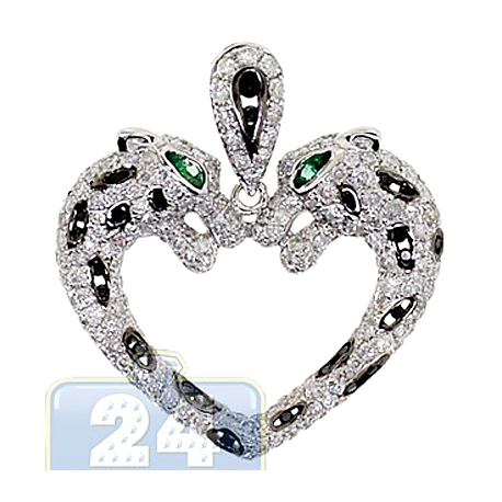 Womens Diamond Double Panther Heart Pendant 14K White Gold 2.3ct