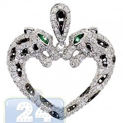 14K White Gold 2.30 ct Diamond Two Panthers Heart Pendant
