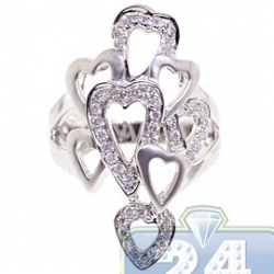 Matte 14K White Gold 0.55 ct Diamond Openwork Multi Heart Womens Ring