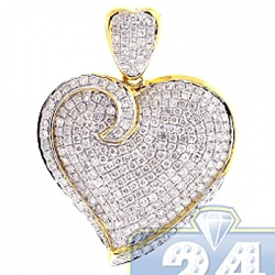 14K Yellow Gold 2.02 ct Diamond Heart Shape Womens Pendant