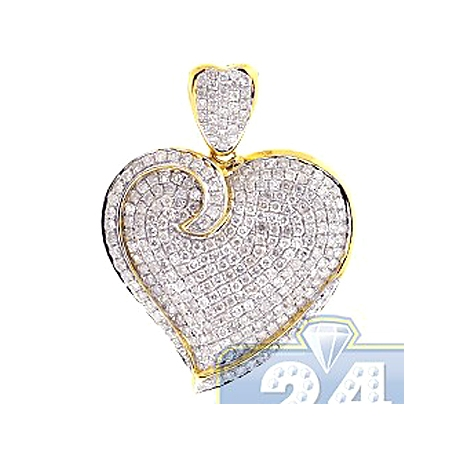 Womens Diamond Heart Shape Love Pendant 14K Yellow Gold 2.02ct