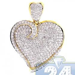14K Yellow Gold 2.02 ct Diamond Heart Shape Womens Pendant