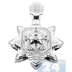 14K White Gold 1.21 ct Diamond Star of Lakshmi Mens Pendant