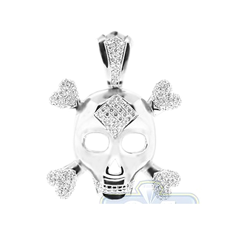 Mens Diamond Skull Bones Pendant Necklace 14K White Gold 2.07ct