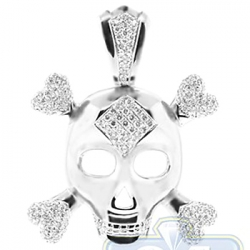 14K White Gold 2.07 ct Diamond Skull Bones Mens Pendant