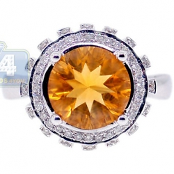 14K White Gold 3.08 ct Round Citrine Diamond Cocktail Ring