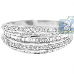 14K White Gold 0.84 ct Baguette Round Diamond Vintage Band Ring