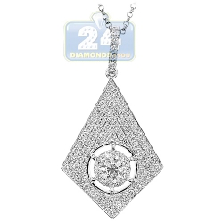 14K White Gold 1.23 ct Diamond Womens Rhombus Pendant