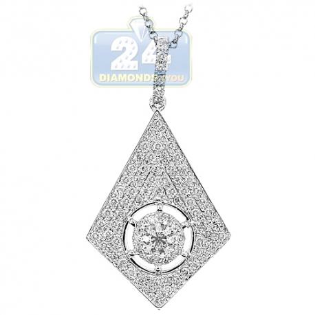 Womens Diamond Pave Rhombus Drop Pendant 14K White Gold 1.23ct