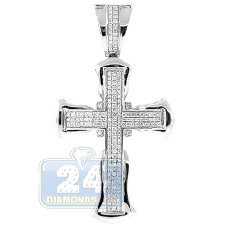 14K White Gold  1.22 ct Diamond Pave Cross Mens Pendant