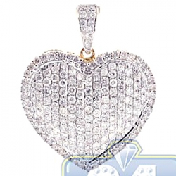 Womens Diamond Pave Heart Love Pendant 14K Yellow Gold 2.17ct