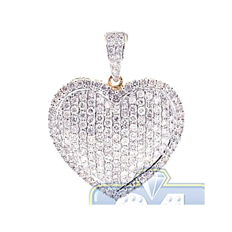 Womens Diamond Pave Heart Love Pendant 14K Yellow Gold 2.17ct