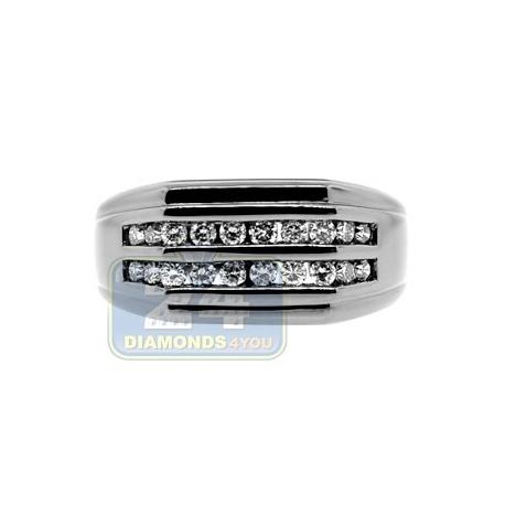 Black PVD 14K Gold 0.49 ct Round Cut Diamond Mens Slim Ring