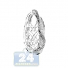 Womens Diamond Puffy Oval Drop Pendant 14K White Gold 1.66ct