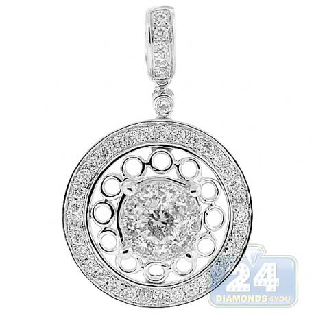 Womens Diamond Open Round Drop Pendant 14K White Gold 1.21ct