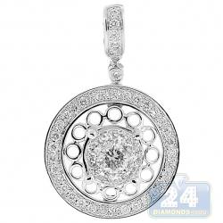 14K White Gold 1.21 ct Diamond Womens Round Drop Pendant