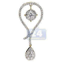14K Yellow Gold 1.73 ct Diamond Womens Teardrop Pendant