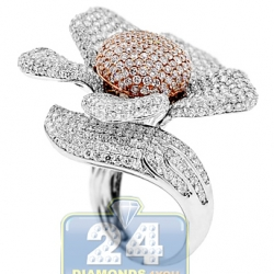 14K Two Tone Gold 7.58 ct Diamond Flower Cocktail Ring