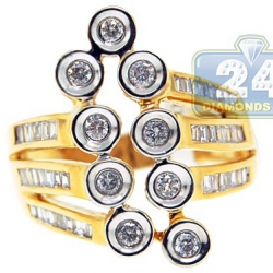 14K Yellow Gold 0.80 ct Baguette Round Diamond Abstract Ring