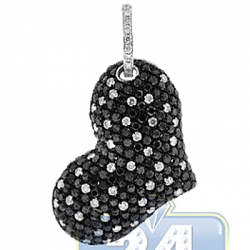 Womens Black Diamond Heart Shape Pendant 14K White Gold 4.02ct