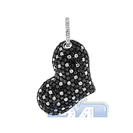 Womens Black Diamond Heart Shape Pendant 14K White Gold 4.02ct