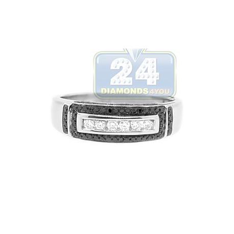 14K White Gold 0.42 ct Black Diamond Mens Band Ring