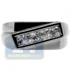 Black PVD 14K Gold 0.32 ct Princess Diamond Mens Slant Ring