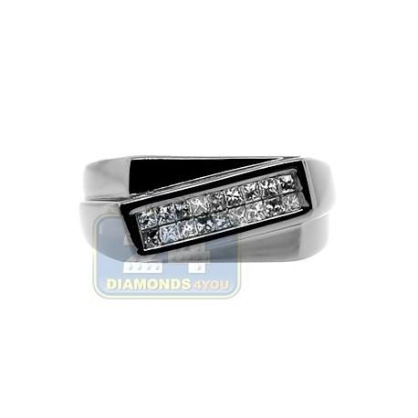 Black PVD 14K Gold 0.32 ct Princess Cut Diamond Mens Slant Ring