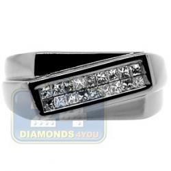 Black PVD 14K Gold 0.32 ct Princess Diamond Mens Slant Ring
