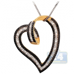 14K Yellow Gold 2.39 ct Baguette Diamond Heart Womens Pendant